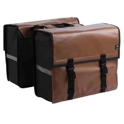 7-series Bicycle Double Pannier Tarpaulin 46L Brown Travel Shopping Cycle Bag • 48.09£