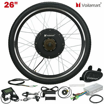 Voilamart 1000W Electric Bicycle Conversion Kit Rear Wheel EBike LCD Meter 26  • 179.99£