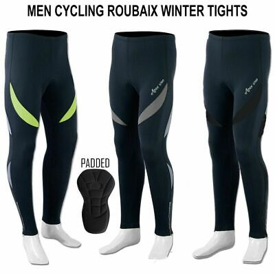 Mens Cycling Tights Winter Thermal Padded Pants Cycle Long Trouser • 18.95£