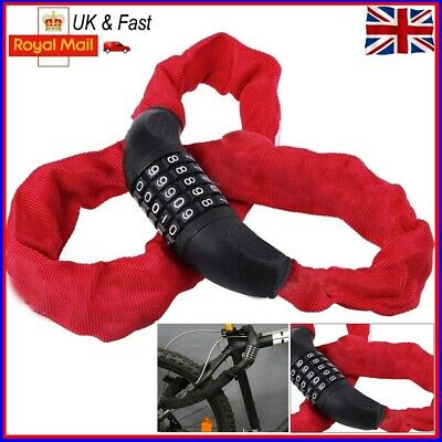 Heavy Duty Bicycle Bike Cycle Anti-theft Secure Chain 5 Digit Lock Security 90cm • 8.38£