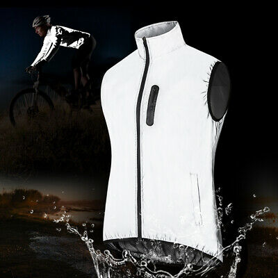 Waterproof Cycling Vest High Visibility Running Jacket Windproof Reflective Coat • 18.89£