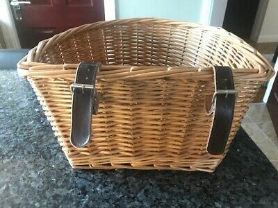 Bike D Shaped Front Wicker Basket With Leather Straps (Halfords) • 5.50£