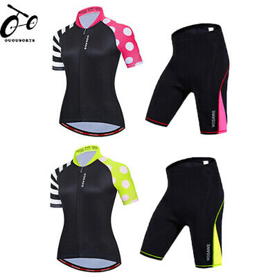 Ladies Summer Cycling Clothing Set Comfort Jersey Padded Shorts Kit Quick Dry • 27.83£