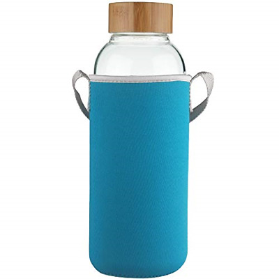 Ferexer 1.5 Litre Sports Borosilicate Glass Water Bottle With Bamboo Lid With Ml • 24.43£