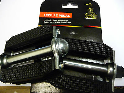 Raleigh Vintage Rubber Type Block Bike Cycle Pedal Chopper Style Black 9/16   • 14.99£