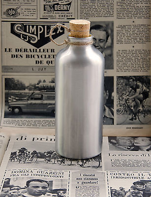 Vintage 1950's Style Bicycle Aluminium Drinks Water Bottle With Cork L'Eroica • 9.95£
