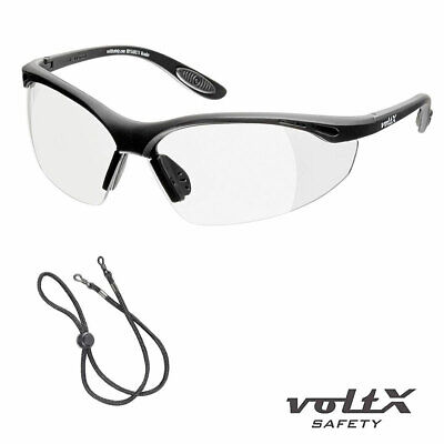 VoltX CONSTRUCTOR READERS Full Lens Magnified Reading Safety Glasses + Cord • 14.99£