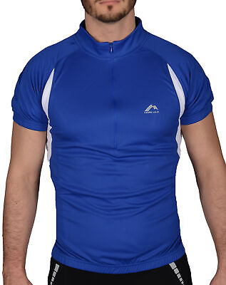 More Mile Short Sleeve Mens Cycling Jersey Blue Half Zip Bike Cycle Ride Top • 7.99£