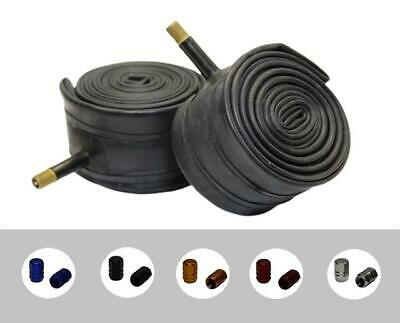 PAIR 27.5  X 2.10 SCHRADER Valve Bicycle Inner Tubes + COLOURED ALLOY DUST CAPS! • 9.49£
