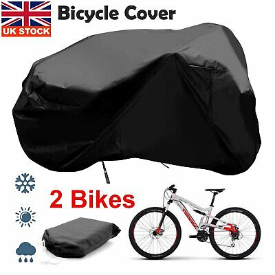 For 2 Bikes Bicycle Waterproof Cover Outdoor Rain Snow Dust Water Resistant • 17.29£