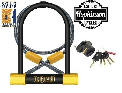 Onguard 8012 Bulldog U Lock D-Lock Sold Secure Silver Shackle D Lock & Cable • 27.99£