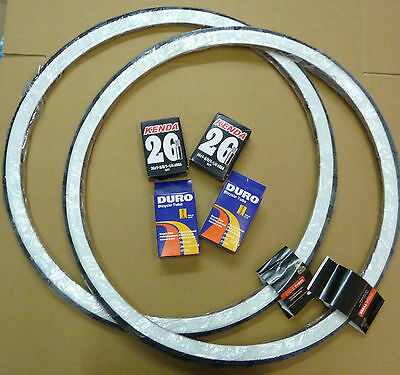 Pair 26 X 1 3/8 White Wall Raleigh Record Tyres & Add Innertubes 37-590 Bicycle • 35.99£