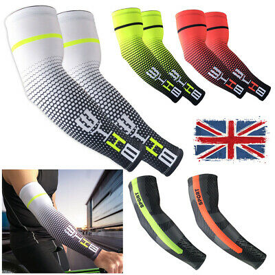 Cycling Bike Bicycle Running Arm Silk Oversleeve Cooling Cover Sun UV Protection • 8.19£