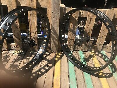 "Fat Bike 26  Pair Of Black Rims Only 3"" Wide Easy Fit 4""tire Disc Brake • 120£"