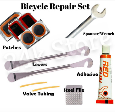 Bicycle Cycle Tyre Repair Kit Inner Bike Tube Puncture Patch Lever Spanner Glue • 3.25£