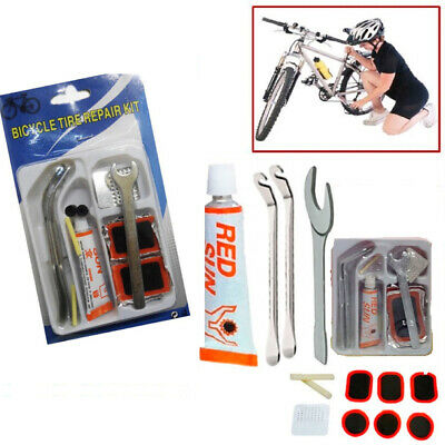 Bike Tyre Tube Bicycle Puncture Repair Kit Cycle Patches Glue Spanner Tool Lever • 2.97£