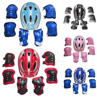 7pcs/set Boys & Girls Kids Skate Cycling Bike Safety Helmet Knee Elbow Pad Guard • 10.68£