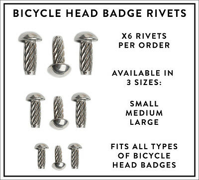 Pack Of X6 Bicycle Head Badge Rivets Vintage Retro Steel Bike • 1.50£