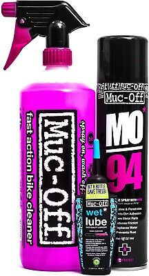 Muc-Off Wash Protect And Lubricant Kit Contains Nano Tech 1L Wet Lube MO94 • 16.98£