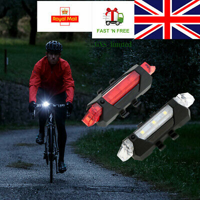 USB Rechargeable Bike Lights Front Rear Hazard Light Waterproof 5 LED Red White • 7.49£
