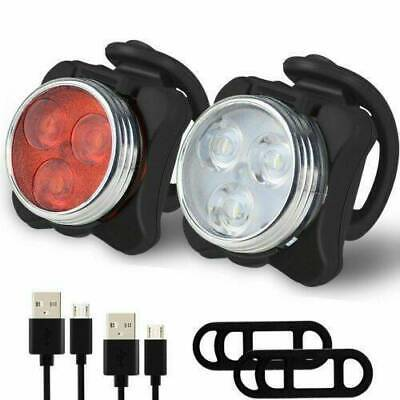 Bike Lights Mountain Cycle Bicycle Cycling Front Light Set Rechargeable USB LED • 8.99£