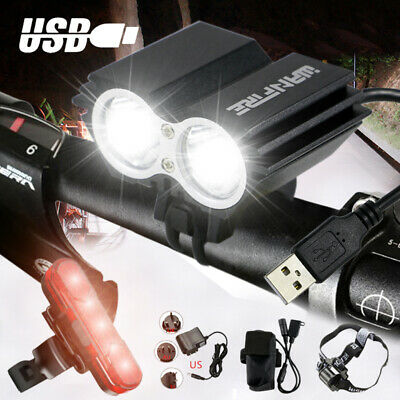 20000LM X2 XML LED MTB Bicycle Light Bike Rear Front Headlight USB Rechargeable  • 16.99£
