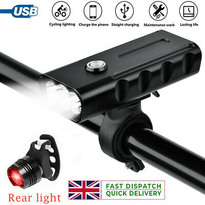 1500LM Waterproof Bike Front + Tail Light Set USB Rechargeable Bicycle Light • 7.99£