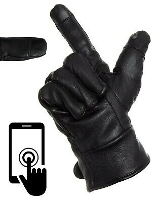 Touch Screen Mens Genuine Leather Gloves Thermal Fleece Warm • 9.99£