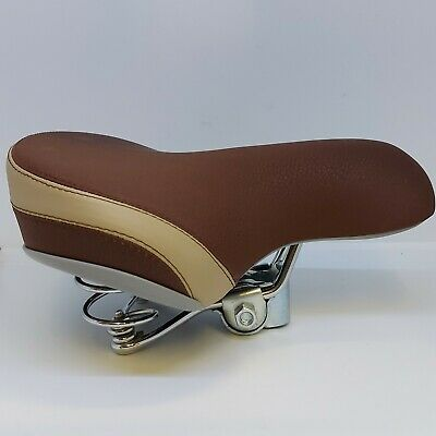 Deluxe Suede Effect BROWN & CREAM Saddle Chrome Double Sprung Comfort Seat TGR • 15.99£