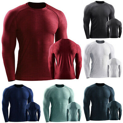 Mens Long Sleeve Compression Thermal Base Layer Shirt Tops Shirts Gym Quick Dry • 12.49£
