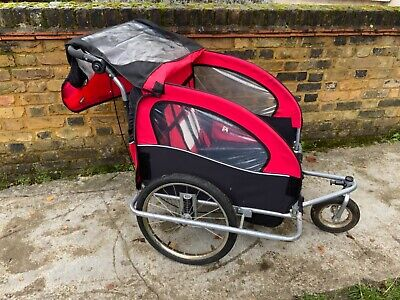 Double Kids Bike Trailer Twins Bicycle Stroller Jogger Child Buggy Carrier Fold • 65£