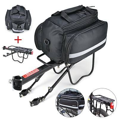 Bicycle Rear Seat + Bag MTB Pannier Carrier Rack  Kits+Removable Carry Saddle UK • 21.19£