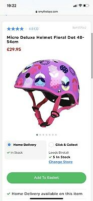 Micro Children's Deluxe Bike Scooter Helmet Pink Purple Floral Dot Size Small • 14£