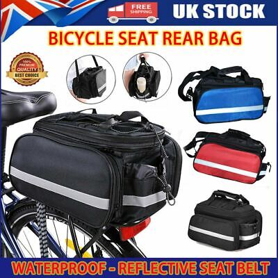 Large Bike Bicycle Seat Rear Bag Pannier Rack Pack Shoulder Cycling Pouchs • 8.53£