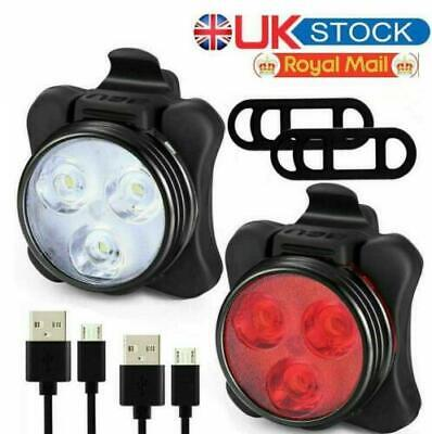 Bike Light Set, Super Bright USB RECHARGEABLE Bicycle Lights, Waterproof IPX4 TP • 6.29£