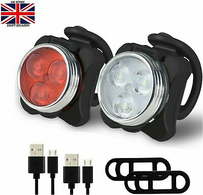 Super Bright Bike Light Set, USB Rechargeable Bicycle Lights, IPX4 Waterproof • 6.59£