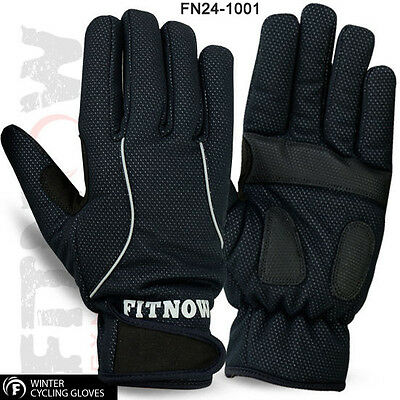 Cycling Winter Thermal Gloves Windproof MTB Full Fingers Palm Protection Glove • 4.99£