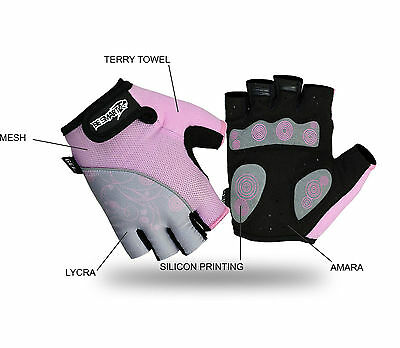 Ladies Cycling Gloves MTB Bike Half Finger Bicycle Palm Gel Silicone Fingerless • 5.99£