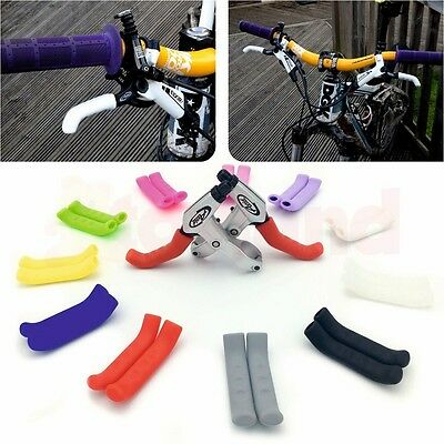 PAIR Of COLOURED BRAKE LEVER GRIPS PROTECTORS COVERS MOUNTAIN BIKE MTB BMX FIXIE • 3.95£