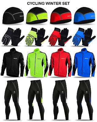 Cycling Windstopper Jacket Gloves Cap And Thermal Roubaix Trouser Winter Kit  • 45.99£