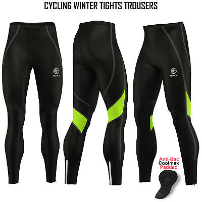 Mens Cycling Tights Winter Thermal Padded Pants Cycle Long Trouser Legging ROXX • 17.99£