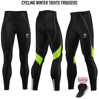 Mens Cycling Tights Winter Thermal Padded Pants Cycle Long Trouser Legging ROXX • 19.99£