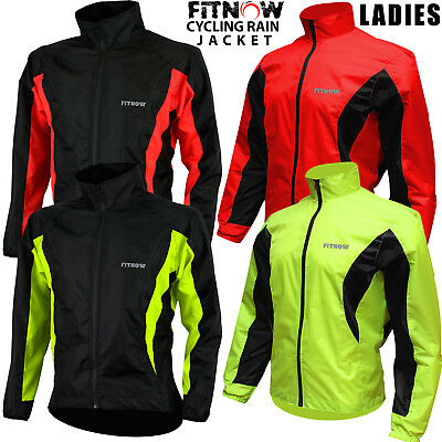Womens Cycling Jacket High Visibility Waterproof Running Top Rain Coat S To XL • 21.99£