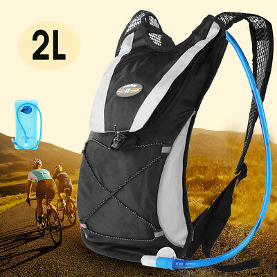 UK Sports Backpack Hiking Hydration Pack Cycling Running Vest + 2L Water Pack • 18.99£