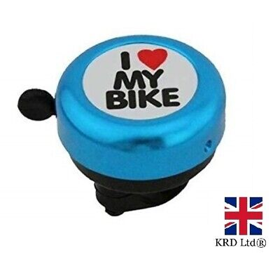 `I LOVE MY BIKE` BICYCLE BELL Hand Ring Cycle Horn Mountain Kids Road BLUE UK • 4.60£