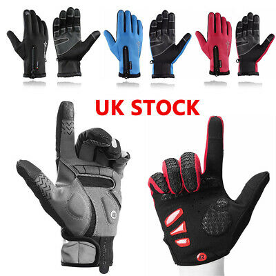 Rockbros Winter Outdoor Cycling Fullfinger Gloves Windproof Fleece Thermal Mitts • 9.99£