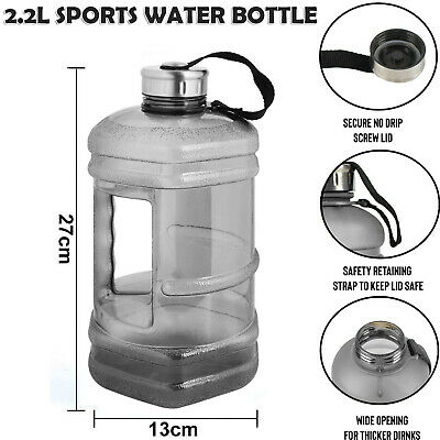 Large 2.2 Litre Jumbo Sports Water Bottle Home Office Gym Dieting Hiking Workout • 8.49£