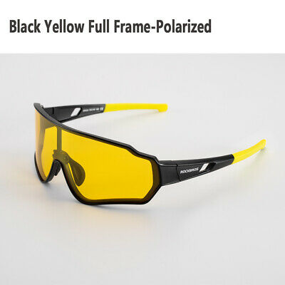 Rockbros Full Frame Polarized Glasses Cycling Goggles Outdoor Sunglasses Yellow • 18.99£