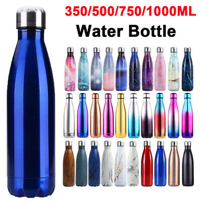 Water Bottle Vacuum Insulated Metal Flask Gym Yoga Chilly Cold Stainless Steel • 8.99£