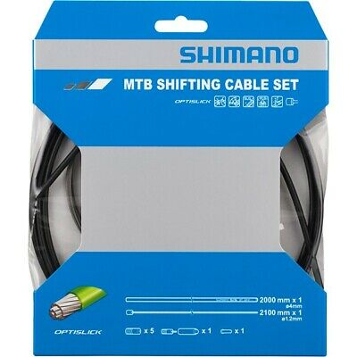 Shimano Gear Cable Set MTB OPTISLICK Stainless Steel Inner Black Rear Only • 15.99£